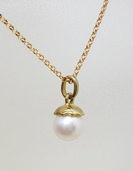 9ct Yellow Gold Dainty Pearl Pendant on Gold Chain