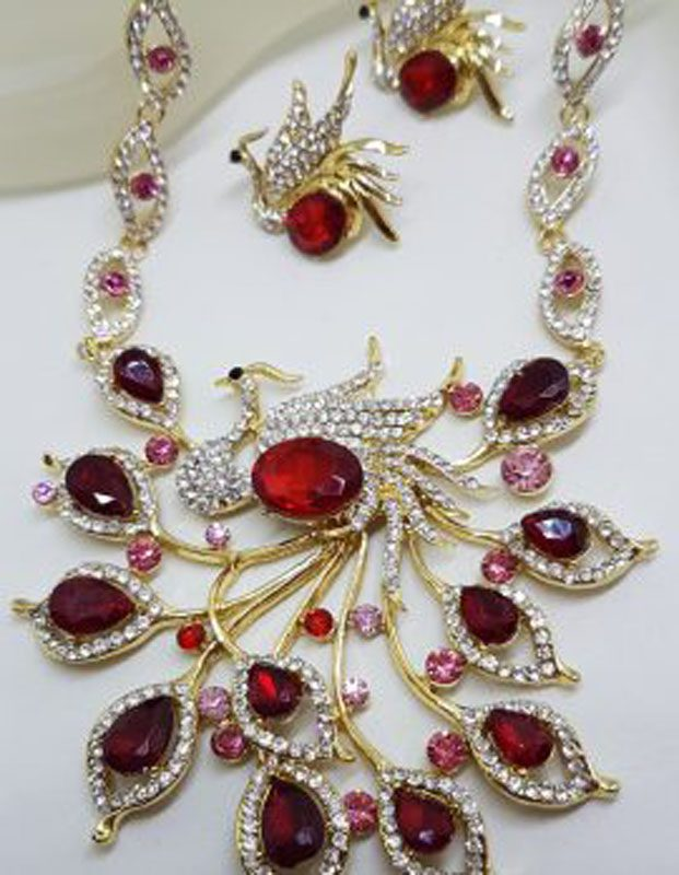 Plated Very Large Red and Rhinestone Peacock / Phoenix Necklace and Earring Set - Costume Jewellery