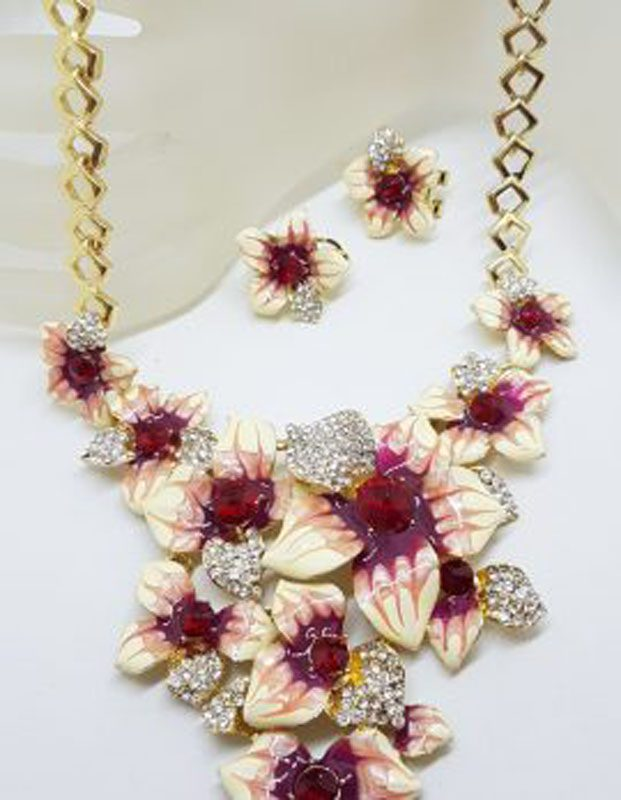 Plated Very Large Red and Rhinestone Flower Necklace and Earring Set - Costume Jewellery