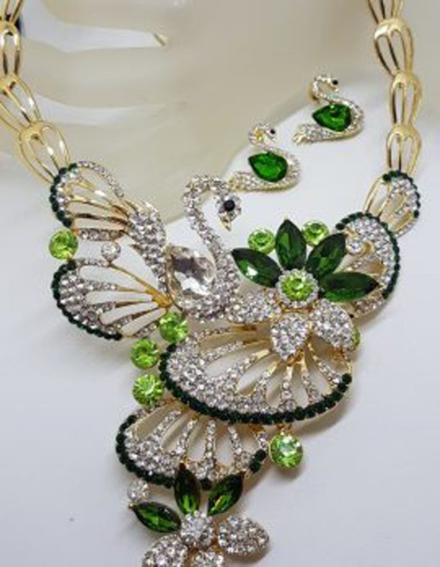 Plated Very Large Green with Rhinestone Swan Necklace and Earring Set - Costume Jewellery