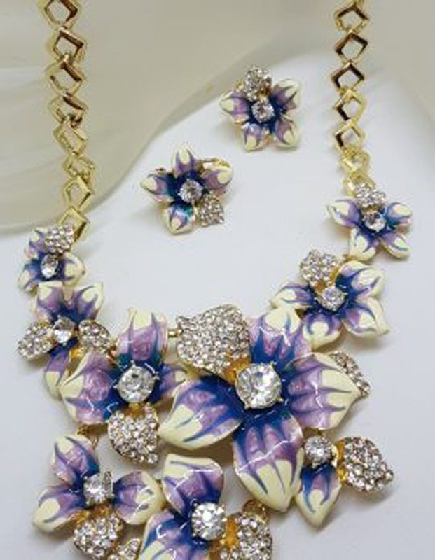 Plated Very Large Blue and Rhinestone Flower Necklace and Earring Set - Costume Jewellery