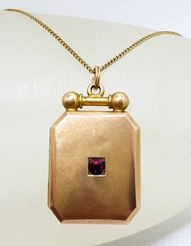 9ct Rose Gold with Garnet Rectangular Locket Pendant on Gold Chain - Antique / Vintage