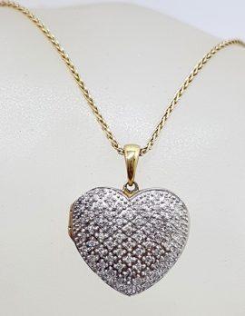 9ct Yellow Gold Diamond Heart Locket Pendant on Gold Chain