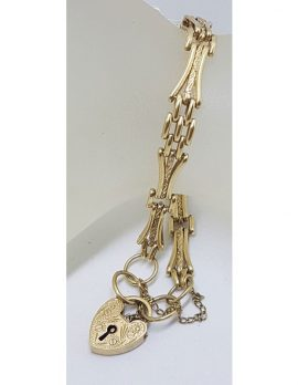 9ct Yellow Gold Gate Link Bracelet with Heart Padlock Clasp