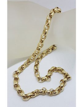 9ct Yellow Gold Belcher Link Chain / Necklace with Bolt Clasp