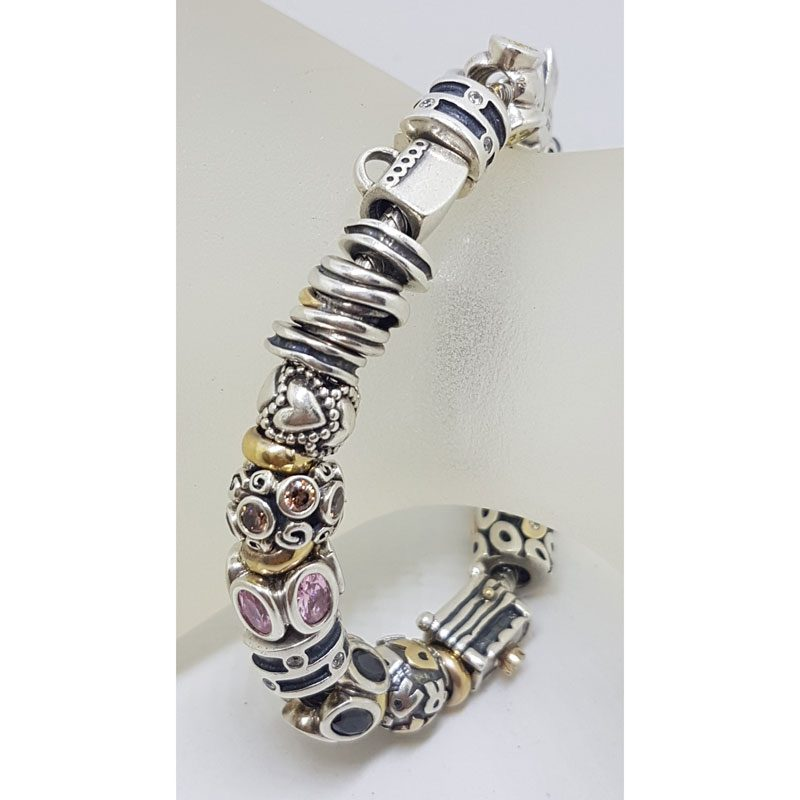 Sterling Silver with Gold Pandora Charm Bracelet with Charms