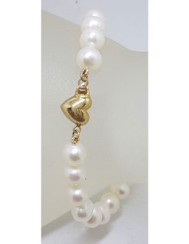 9ct Yellow Gold Heart Clasp on Bracelet