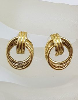 9ct Yellow Gold Circles Stud Earrings