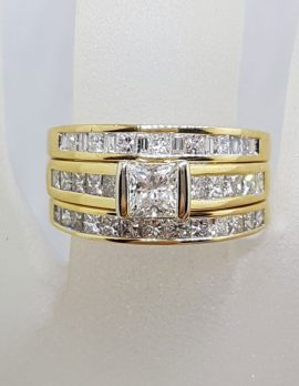 18ct Yellow Gold Princess Cut Diamond Engagement Ring, Wedding Ring and Eternity Ring Set