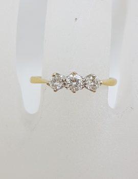 18ct Yellow Gold & Platinum Trilogy Diamond Ring