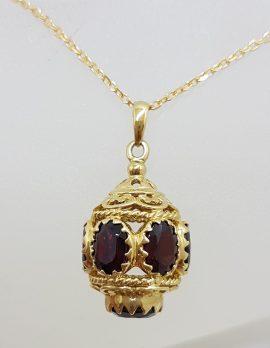 "9ct Yellow Gold Ornate Filigree Stunning Garnet ""Lantern"" Pendant on Gold Chain"