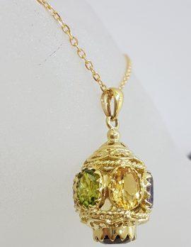 "9ct Yellow Gold Ornate Filigree Stunning ""Lantern"" Pendant on Gold Chain with Amethyst, Peridot, Citrine, Sapphire and Smokey Quartz"
