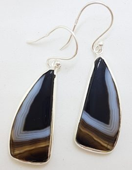 Sterling Silver Large Unusual Shaped Black Banded Onyx Drop Earrings