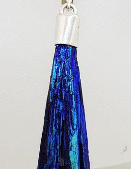 Sterling Silver Black Titanium Kyanite Pendant on Silver Chain - Vibrant Blue