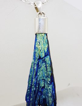 Sterling Silver Black Titanium Kyanite Pendant on Silver Chain - Golden, Blue & Green