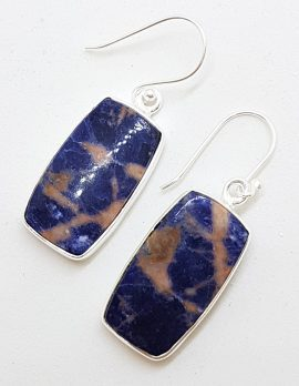 Sterling Silver Large Oval Orange Sodalite Drop Earrings