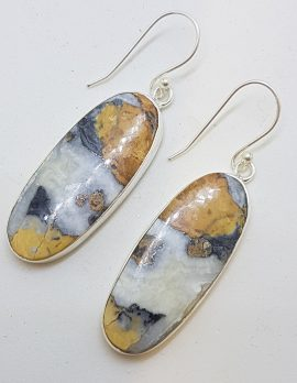 Sterling Silver Large Oval Gemstone Drop Earrings