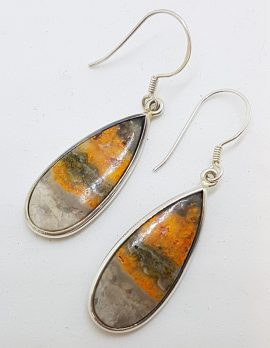 Sterling Silver Large Bumble Bee Jasper Quartz Oval Teardrop / Pear Shape Earrings
