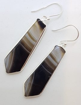 Sterling Silver Long Black Banded Onyx Tie Shape Drop Earrings