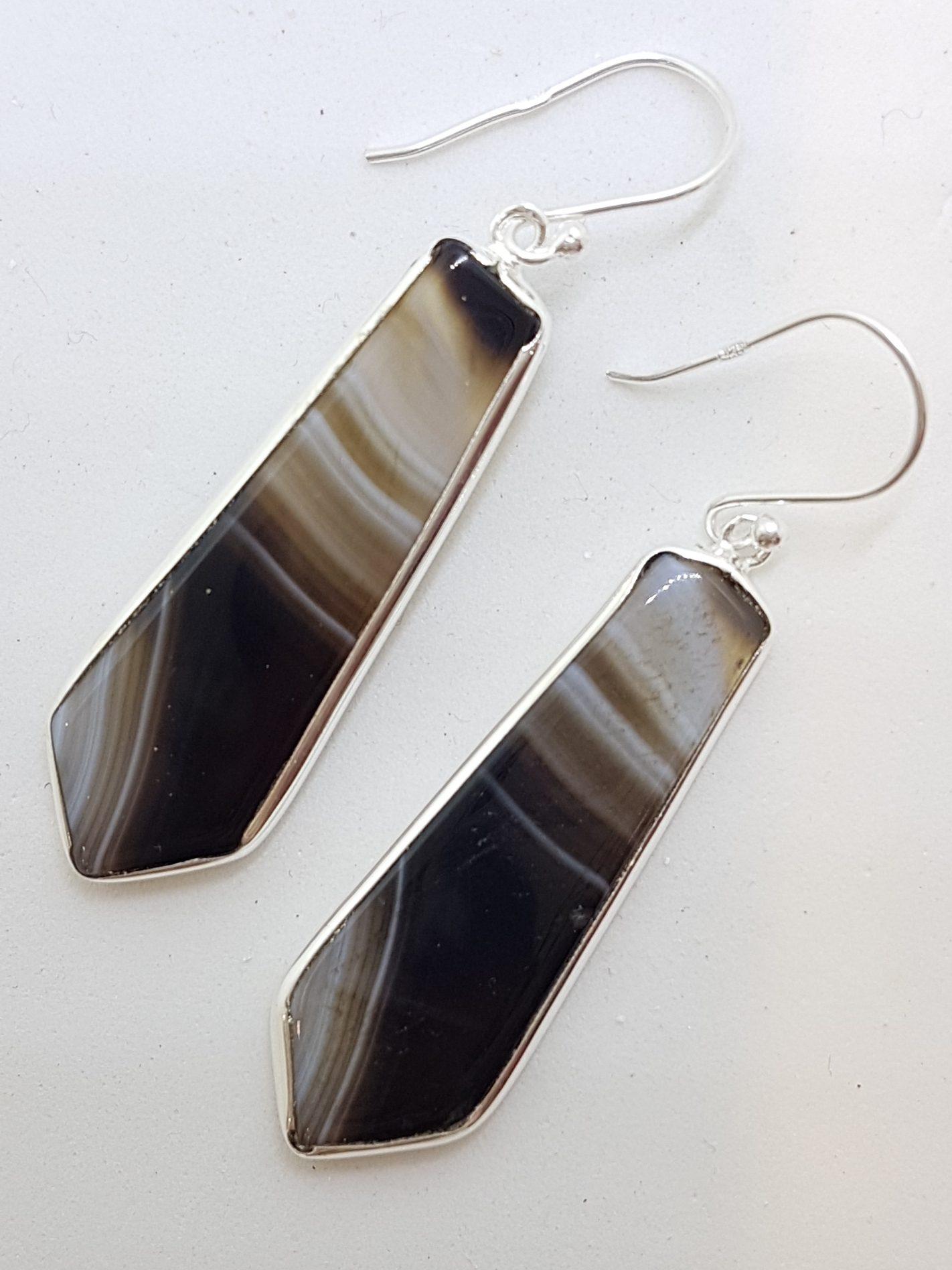 Sterling Silver Long Black Banded Onyx Tie Shape Drop Earrings