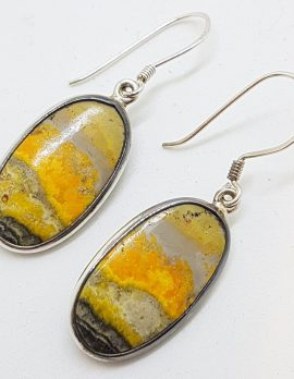 Sterling Silver Large Bumble Bee Jasper Quartz Oval Drop Earrings