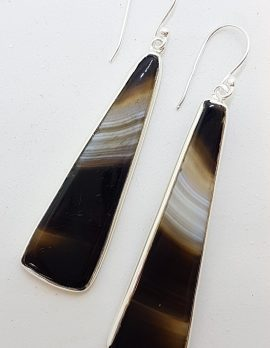 Sterling Silver Long Black Banded Onyx Drop Earrings