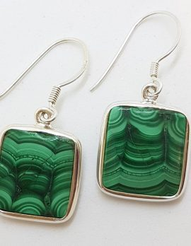 Sterling Silver Large Square Malachite Drop Earrings