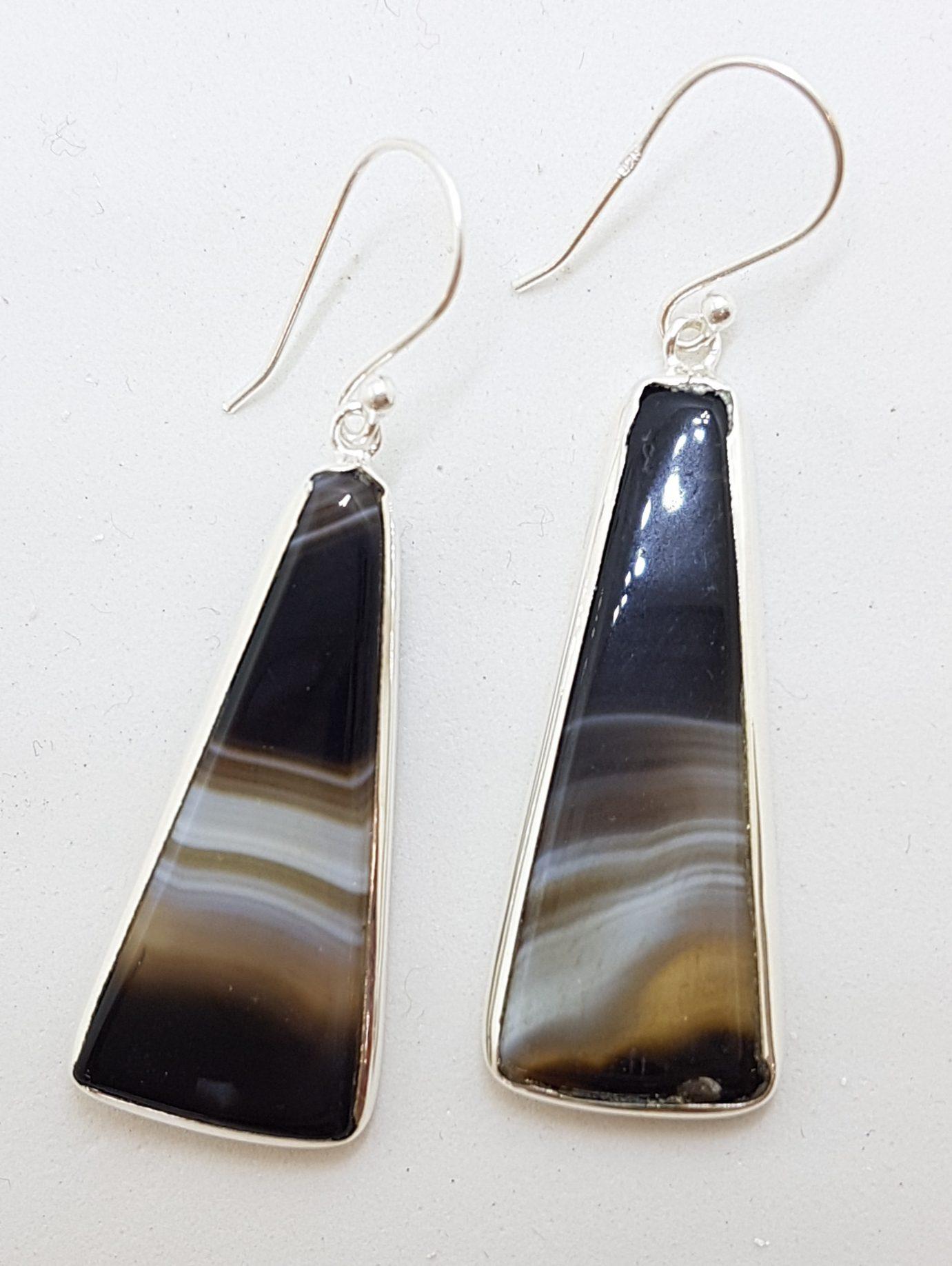 Sterling Silver Long Black Banded Onyx Drop Earrings