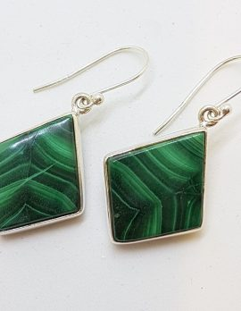 Sterling Silver Large Marquis Shape Malachite Drop Earrings