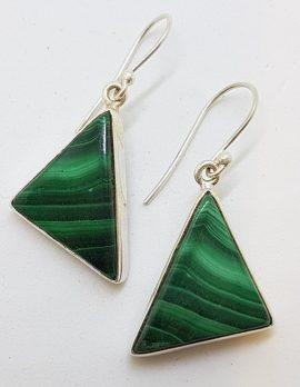 Sterling Silver Large Triangular Malachite Drop Earrings