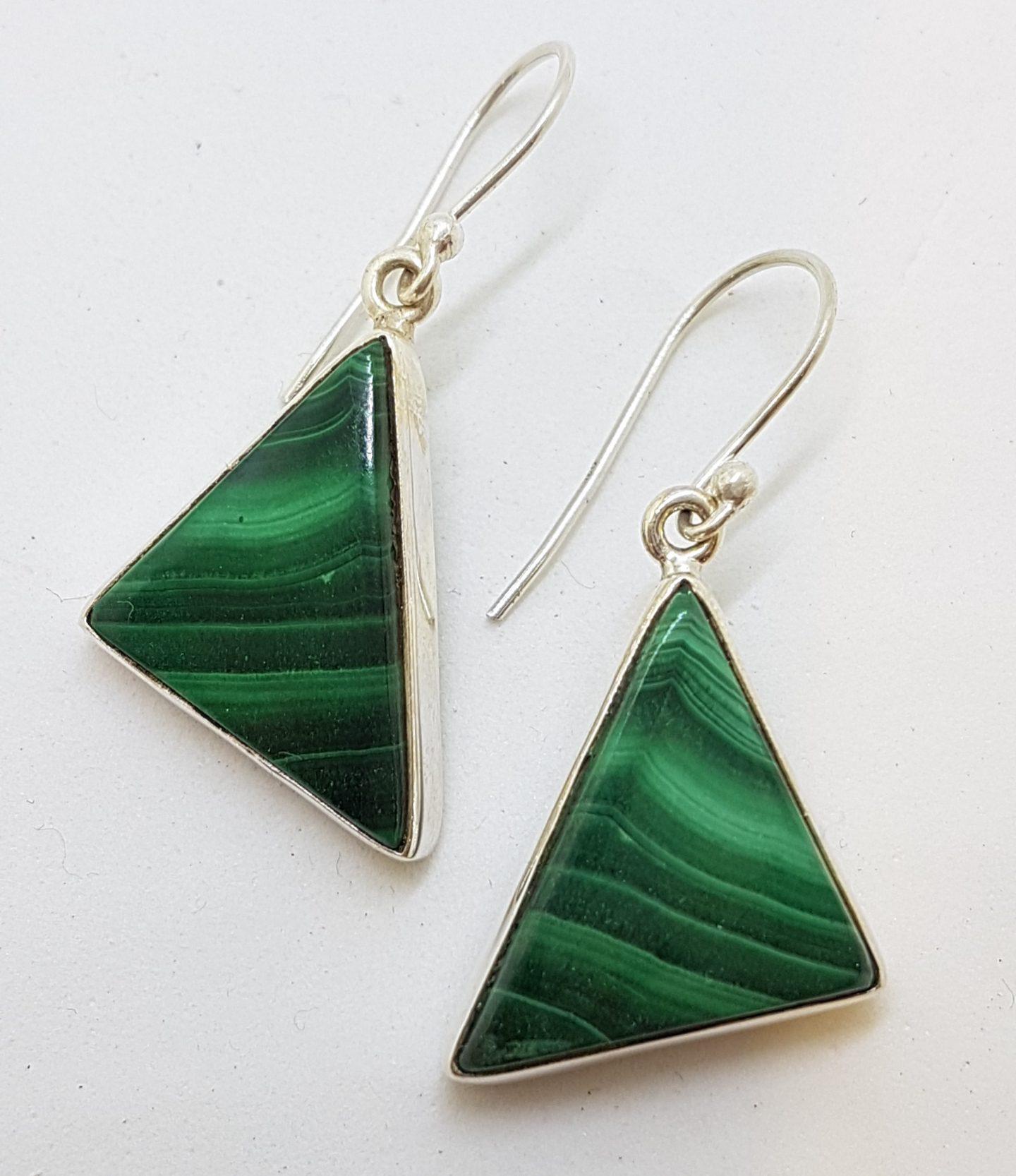 Sterling Silver Large Triangular Malachite Drop Earrings