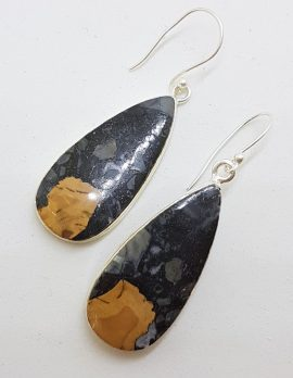 Sterling Silver Large Teardrop / Pear Shape Drop Earrings
