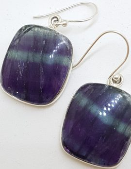 Sterling Silver Large Square Fluorite Earrings