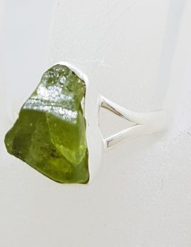 Sterling Silver Rough Natural Form Peridot Ring