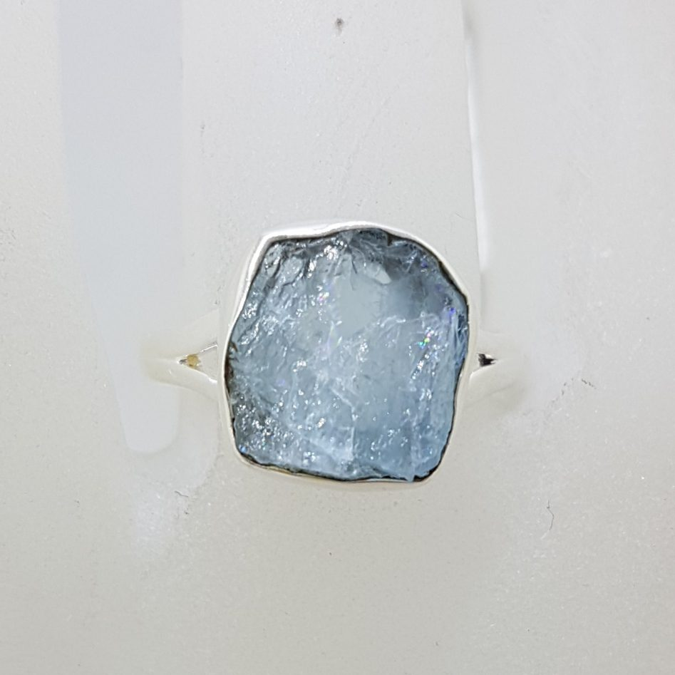 Sterling Silver Rough Natural Form Aquamarine Ring