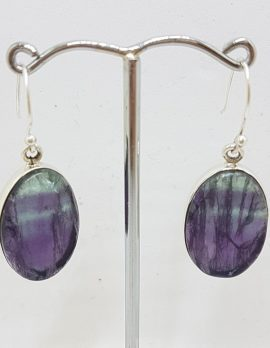 Sterling Silver Large Oval Fluorite Earrings