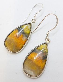 Sterling Silver Large Pear Shape/ Teardrop Bumble Bee Quartz Jasper Earrings