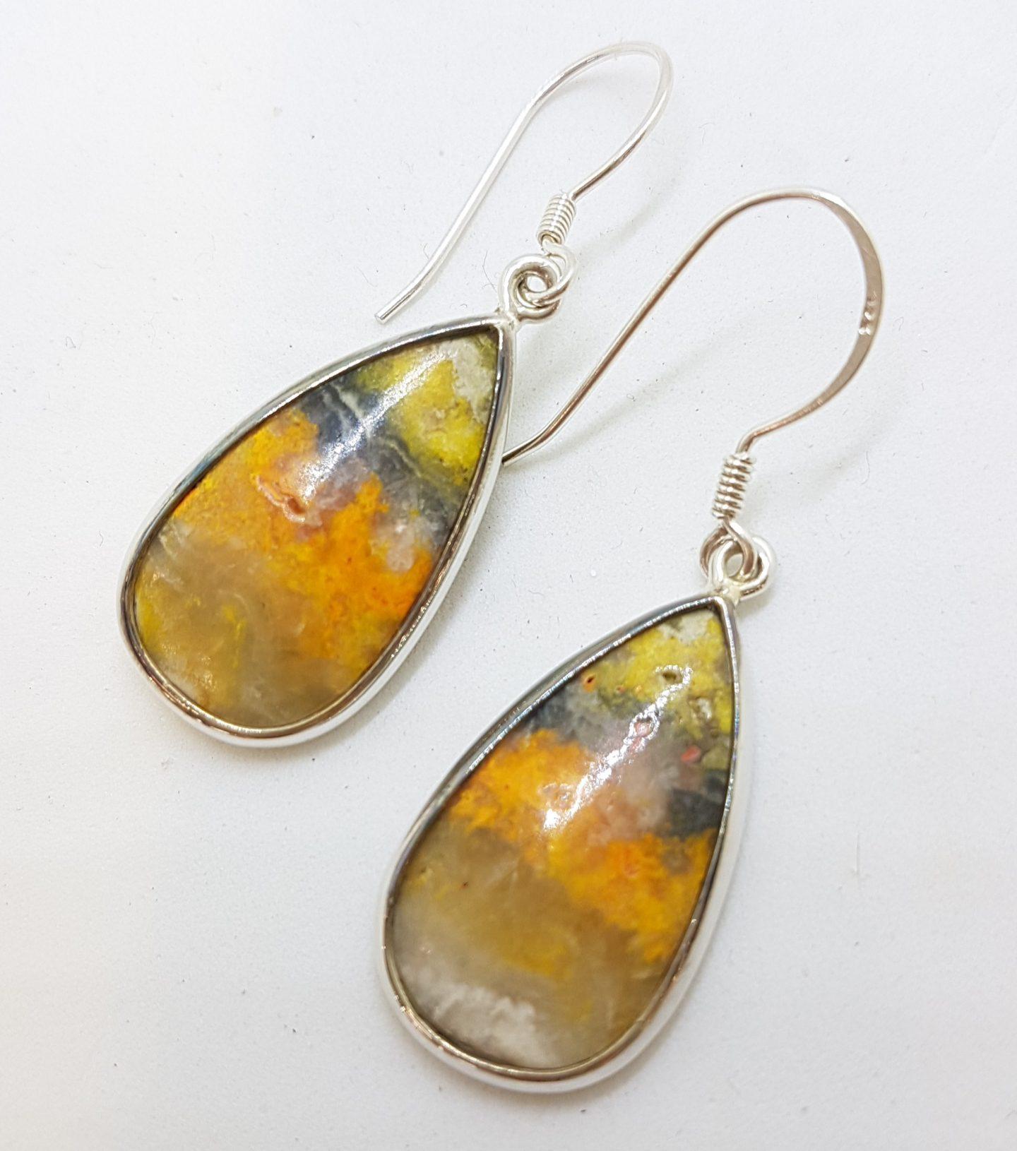Sterling Silver Large Pear Shape/ Teardrop Bumble Bee Quartz Jasper Earrings