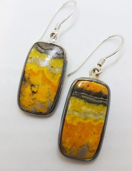 Sterling Silver Large Rectangular Bumble Bee Quartz Jasper Earrings