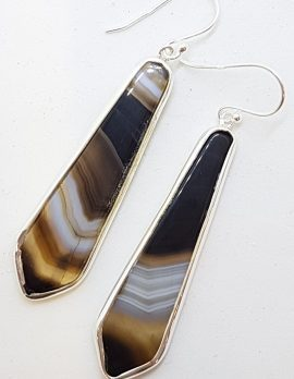 Sterling Silver Long Tie Shaped Black Banded Onyx Drop Earrings