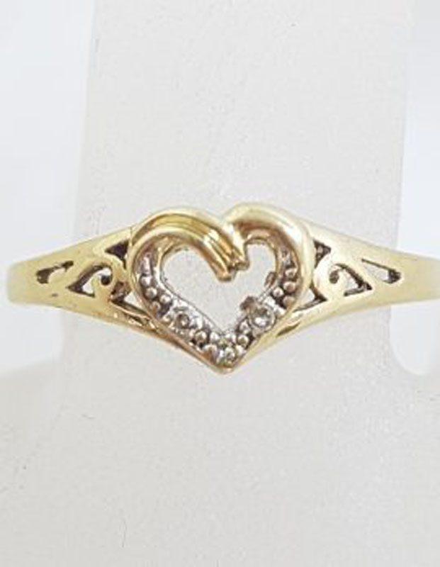 9ct Yellow Gold Ornate Filigree Diamond Heart Ring