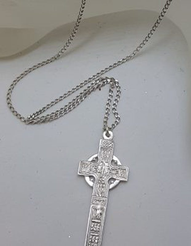 Sterling Silver Large Celtic Cross Pendant on Silver Chain