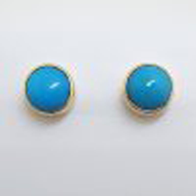 9ct Yellow Gold Round Bezel Set Natural Turquoise Stud Earrings
