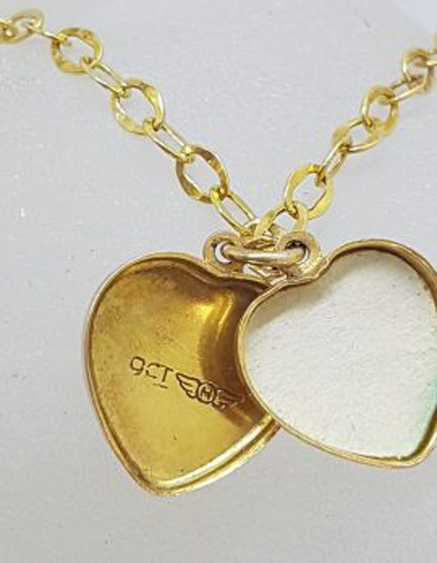 9ct Yellow Gold Heart Shaped Locket Pendant on Gold Chain - Vintage
