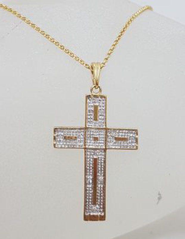 9ct Yellow Gold Diamond Cross / Crucifix Pendant on Gold Chain