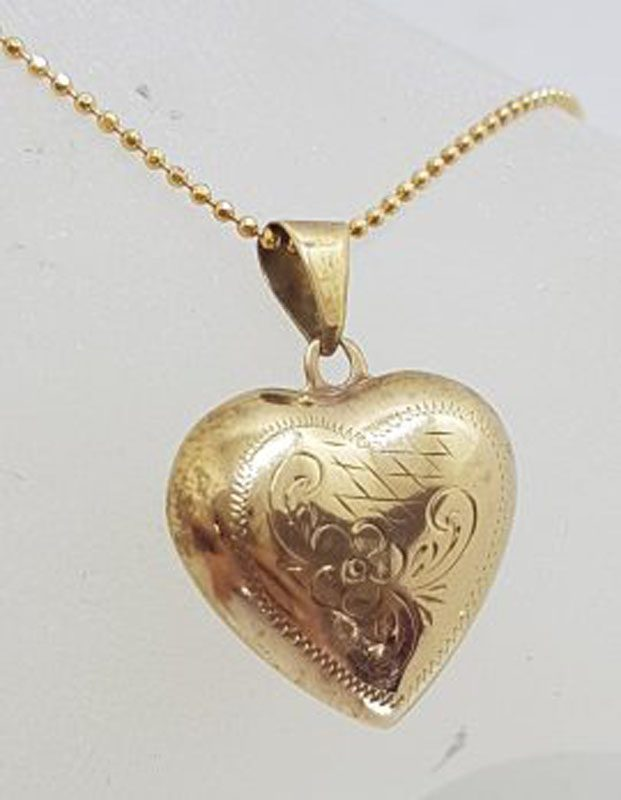 9ct Yellow Gold Ornate Floral Puffy Heart Pendant on Gold Chain