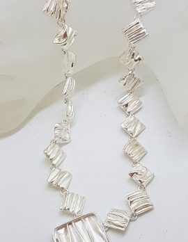 Sterling Silver Crinkle Cut Design Collier Necklace / Chain
