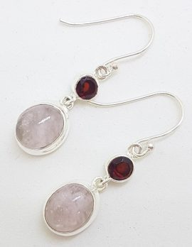 Sterling Silver Oval Morganite with Round Garnet Long Drop Earrings
