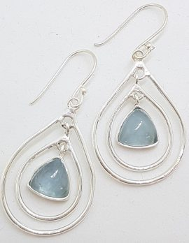 Sterling Silver Aquamarine Triangle in Teardrop / Pearshape Large Drop Earrings