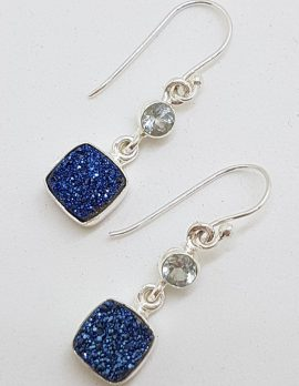 Sterling Silver Square Blue Druzy with Round Topaz Drop Earrings